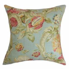 $43.95 Bring a pop of color to your sofa or favorite arm chair with this chic cotton pillow, showcasing a floral motif.   Product: PillowConstruction Material: Cotton and down feather Color: MultiFeatures:  Insert includedKnife edge Hidden zipper  Cleaning and Care: Spot clean recommended