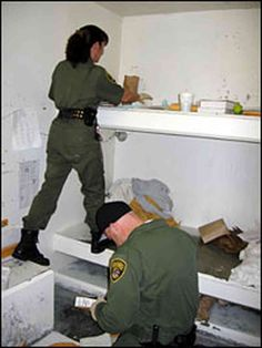 """A cell search, or """"shakedown,"""" at Pelican Bay State Prison"""