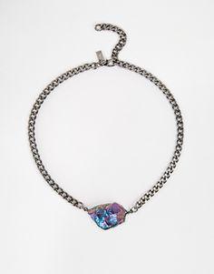 Gargantilla con cadena gris metálico magma y violeta petróleo de Regal Rose