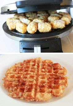 Hashbrowns in waffle iron from tatertots. Ok, this is genius.