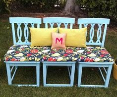 chairs into an outside bench - cool idea for outside against the wall !