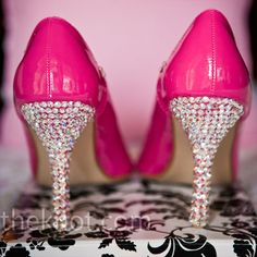 Hot Pink Wedding Shoes with Silver Rhinestones on Heels for Bride or Bridesmaids