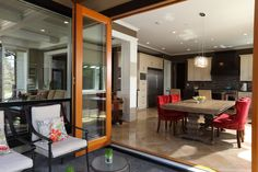 Open plan dining room that opens up to the patio Vancouver, Sunny Afternoon, Custom Built Homes, Indoor Outdoor Living, Open Plan, Building A House, Living Spaces, Patio, Modern