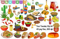 Taco Tuesday Clip Art, Cinco de Mayo by FrankiesDaughtersDesign on Creative Sketches, Paint Markers, Pencil Illustration, Chalk Art, Business Card Logo, Watercolor And Ink, Clipart, Taco Drawing, Painting & Drawing