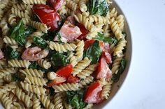 Gluten-Free Pasta with Tomatoes, Spinach and Feta