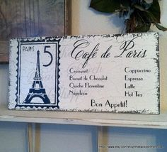Cafe De Paris 9 X 18 French Kitchen Signs By Thebackporchshoppe 48 95