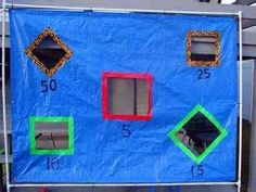 Tarp football   For this game you will need ◦1 tarp that you don't mind cutting 5 squares at different angles out  ◦1 permanent marker to mark the different scores  ◦Different color ribbon to line the squares with  ◦2 foot balls if possible if not 1 will do