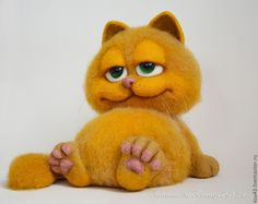 Купить Гарфилд - рыжий, кот, коты и кошки, гарфилд, котяра, кошка игрушка, игрушка из шерсти