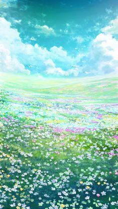 Fantasy Art Landscapes, Fantasy Landscape, Fantasy Artwork, Landscape Art, Anime Scenery Wallpaper, Landscape Wallpaper, Nature Wallpaper, Anime Places, Summer Painting
