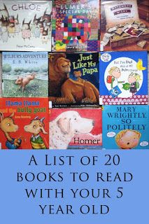A list of 20 fun books to read with your 4-5 year old