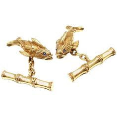 Tiffany & Co. Jean Schlumberger Fish Sapphire Yellow Gold Cufflinks 1