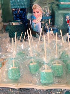 Sparkly marshmallow pops at a Disney Frozen Birthday Party! See more party ideas at CatchMyParty.com!