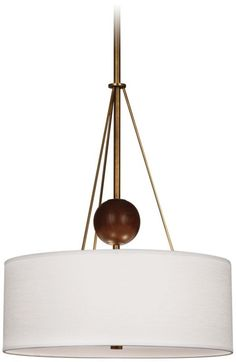 Jonathan Adler Ohai Modern Aged Brass with White Chandelier -