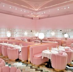 Sketch, Popular Restaurant in London. From the pink walls to the David Shrigley artwork to the egg-shaped toilets, every single detail is begging to be documented. Just try not to drop your iPhone down the loo. Deco Cafe, Murs Roses, Design Retro, Design Logo, Pink Design, Cafe Design, Pink Walls, Restaurant Design, Sketch Restaurant