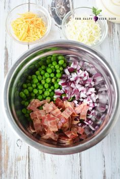 Creamy Pea Salad recipe with red onions, bacon, and plenty of cheese ; a summer favorite!