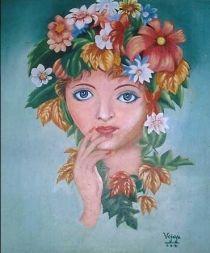 Vijaya Sinha's creation Hawain girl. Painting. EmoTagged Hope