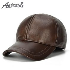 [AETRENDS] 2017 New 100% Leather Baseball Caps Z-5294