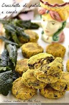 Crocchette di patate e cavolo nero - SICILIANI CREATIVI IN CUCINA My Recipes, Healthy Recipes, Healthy Food, Recipe Steps, Food Videos, Side Dishes, Stuffed Mushrooms, Appetizers, Tasty