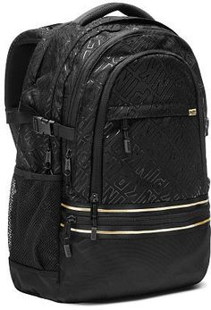 bded18f214 Victoria s Secret PINK Collegiate Backpack Bookbag Black Foil Gold in  Clothing
