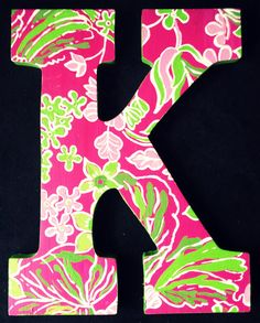 Items similar to Lilly Pulitzer Inspired Letters Hotty Pink First Impression on Etsy Rose Nursery, Girl Nursery, Nursery Ideas, Letter K, Painted Letters, Pink And Green, Blue Yellow, Lilly Pulitzer, Arts And Crafts
