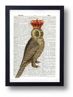 Original Art Print Vintage Dictionary Book Page Owl Royal Crown £2.99