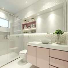 Quando o amor é a primeira vista banheiro rosa, quem não ama? Modern Bathroom Tile, Bathroom Interior, Small Bathroom, Tiled Bathrooms, Mirror Bathroom, Wall Mirror, Bad Inspiration, Bathroom Inspiration, Design Case