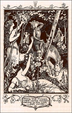 Henry Justice Ford ~ Among the Flowers were Lovely Maidens ~ The Violet Fairy Book by Andrew Lang ~ 1901 ~ via The Pictorial Arts