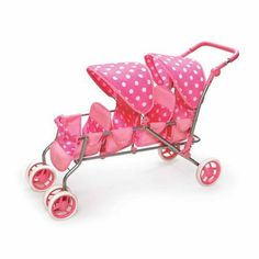 Badger Basket Inline Quad Doll Stroller, Pink Polka Dots, Fits Most Dolls & My Life As Best Lightweight Stroller, Baby Doll Furniture, Baby Doll Strollers, Zapf Creation, Baby Doll Nursery, Baby Alive Dolls, Baby Doll Accessories, Dolls Prams, Pink Doll