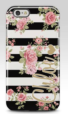 Striped floral custom Iphone case