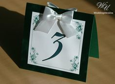 Wedding table numbers with bow White and Velvet by WeddingUkraine
