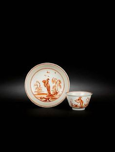 A very rare Meissen teabowl and saucer, circa 1723