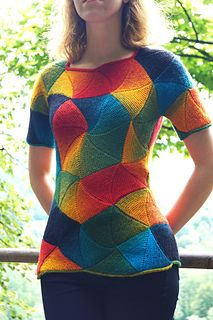 """""""Palette"""" modular triangle top is a short-sleeved sweater worked in the modular knitting technique. Individual modules are connected to each other without breaking the yarn, with minimal mattress stitch seaming at the shoulders and sides. Neckline, hem and sleeves are finished with i-cord. This pattern uses no purl stitches at all, but concentration and following numbered schematics for modular knitting are required. Instructions are written out row by row with accompanying schematic…"""