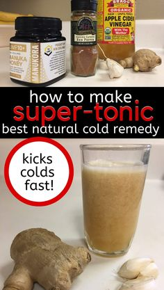Homemade Super Tonic Recipe Cold Remedy (a.) - Discover how to get rid of a cold fast with this amazing natural cold remedy, homemade super tonic - Homemade Cold Remedies, Cold Remedies Fast, Natural Cold Remedies, Cough Remedies, Natural Remedies For Anxiety, Herbal Remedies, Sleep Remedies, Holistic Remedies, Kombucha