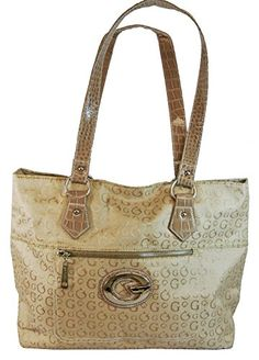 Jacquard Print Tote Bag Signature G Purse With Moc Croc Trim Beige Ye Sir