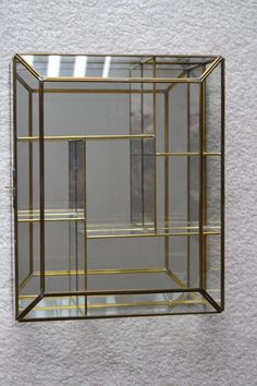 Vintage Brass & Etched Glass Mirrored Display Case / Jewelry Case ...