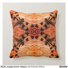 Black, orange, brown dragonfly pattern solid back Orange Pillows, Orange Brown, Custom Pillows, Keep It Cleaner, Fall Decor, Throw Pillows, Cool Stuff, Pattern, Color