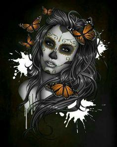 Sugar skull girl drawing by ben krefta Mädchen Tattoo, Body Art Tattoos, Girl Tattoos, Sun Tattoos, Chicano Art Tattoos, Yakuza Tattoo, La Muerte Tattoo, Catrina Tattoo, Sugar Skull Artwork
