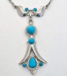 Vintage Southwestern Turquoise Blue Necklace Silver Large Retro Estate 1960 #Unbranded #Southwestern