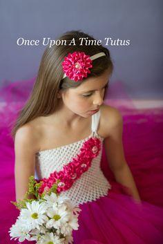 Pink White Satin Flower Headband  Newborn by OnceUponATimeTuTus