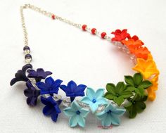 #Rainbow  Ombre #jewelry  Floral necklace  Spring by insoujewelry