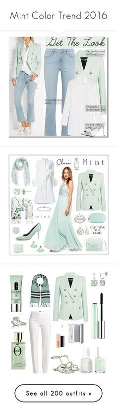 """Mint Color Trend 2016"" by yours-styling-best-friend ❤ liked on Polyvore featuring Balmain, Frame, Jil Sander, N°21, Menu, CÉLINE, Loeffler Randall, Goen.J, ASOS and Caslon"