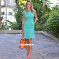 Look de trabalho - look do dia - look corporativo - moda no trabalho - work outfit - office outfit -  spring outfit - look executiva - summer outfit - vestido verde - turquesa - verde água - rosa - bolsa laranja - orange - pink - green - turquoise