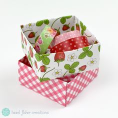 Origami box tutorial, summer strawberries papercraft project Hazel Fisher Creations