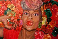 Paulina Penc, Haribo self - portrait, acrylic on canvas, 105 / 70 cm, 2014 on ArtStack #paulina-penc #art