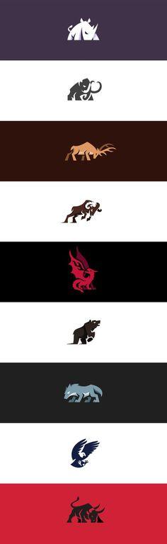 Aggressive and charging animal logos I made . #logo #logos #rhino #mammoth #elephant #deer #elk #buck #ram #dragon #bear #wolf #eagle #bull #aggressive #creative #design #illustration #kreatank #auto #car #gym #sports #sport