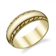 WOW.Different.  Van Craeynest hand-engraved Art Deco men's wedding ring, design No. 993 in yellow gold.