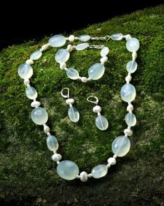 Seafoam Chalcedony and Pearls   $335