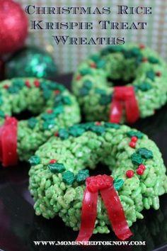 Rice Krispie Treats Idea   Christmas Wreaths