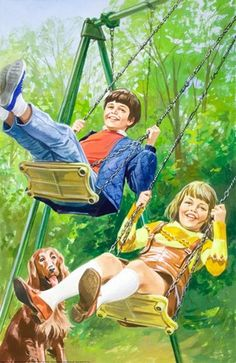 quenalbertini: Swings - Peter And Jane, Things We Like Retro Art, Vintage Art, Vintage Paintings, Red And White Setter, Nostalgia, Ladybird Books, Irish Setter, The Good Old Days, Best Memories