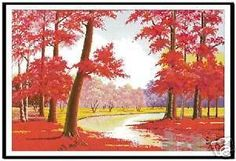 XStitch Kit - Red Maple Trees Autumn View - W DMC floss #DMCFloss